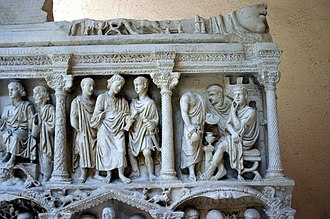 Sarcophagus of Junius Bassus - Cast of Christ's trial before Pilate, with Pilate about to wash his hands.