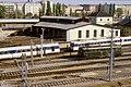 109R22141083 Bereich Wirtschaftsuniversität, Blick Richtung Donaukanal, Franz Josefs Bahnhof, Rundlokschuppen, Lok 1046, Lok 4030.jpg
