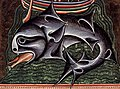 12th-century whale art detail, from- 12th-century painters - On Whales, folio from a Bestiary - WGA15746 (cropped).jpg