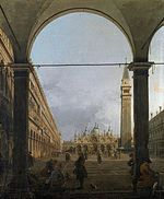 Giovanni Antonio Canal: Two Views of Piazza San Marco: Venice, Piazza San Marco and the Colonnade of the Procuratie Nuove, National Gallery 1756