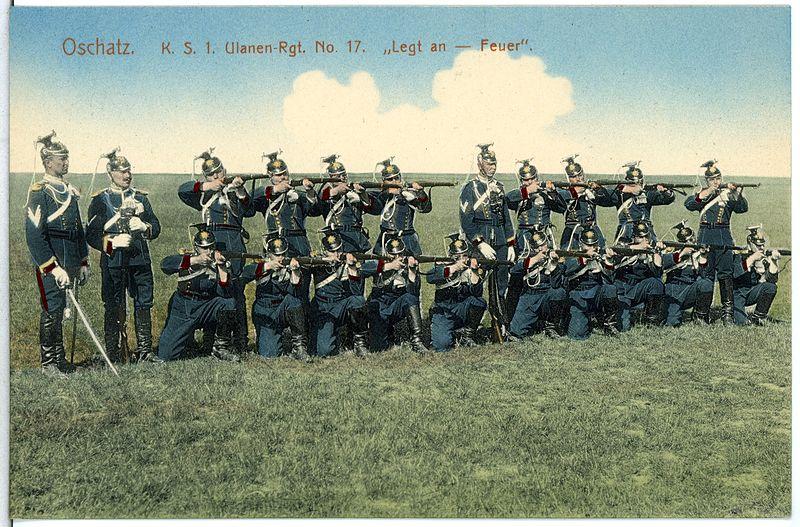 File:14796-Oschatz-1912-1. Königlich Sächsisches Ulanen-Regiment Nr. 17 - Legt an - Feuer-Brück & Sohn Kunstverlag.jpg