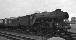 LNER Gresley Classes A1 and A3 - 60059 Tracery near Huntingdon in 1962, the last year of steam operation on the East Coast Main Line, with GNR 8-wheel type tender, double Kylchap exhaust and German-style smoke deflectors.