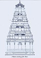 1834 sketch of elements in Hindu temple architecture, five storey vimana.jpg