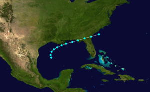 1885 Atlantic hurricane season - Image: 1885 Atlantic tropical storm 3 track