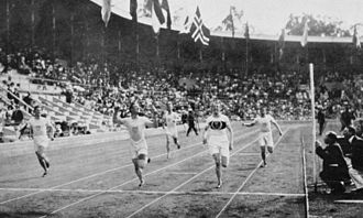 Athletics at the 1912 Summer Olympics – Men's 400 metres - Charles Reidpath (second from left) beats Hanns Braun (second from right) in the final.