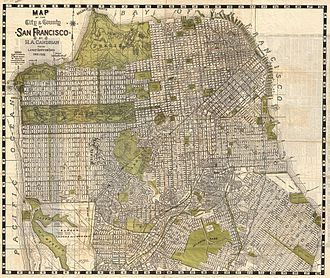 Bayview-Hunters Point, San Francisco - Image: 1932 Candrain Map of San Francisco, California Geographicus San Francisco candrian 1932