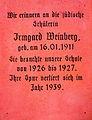 1939 Gedenktafel im Blindenmuseum Landesbildungszentrum für Blinde LBZB, Irmgard Weinberg (geb. 16. 01. 1911), jüdische Schülerin 1926-1927 der Blindenanstalt Hannover, Spur verloren ...jpg