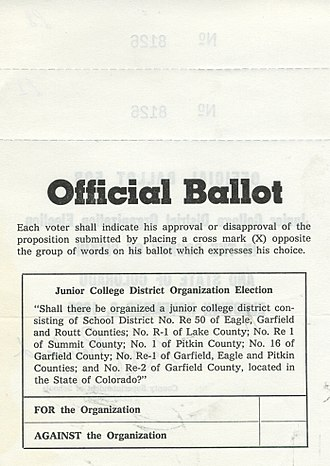 Colorado Mountain College - Official ballot from CMC founding in 1965