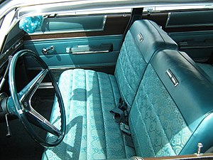 Bench seat - 1967 AMC Ambassador with a reclining front bench seat offering room and seat belts for three adults