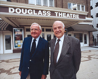 John S. and James L. Knight Foundation - Creed Black and W. Gerald Austen attending a board meeting of the Knight Foundation at the Douglass Theatre in downtown Macon, Georgia