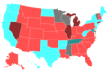 2002 United States House of Representatives Election by Change in the Majority Political Affiliation of Each State's Delegations From the Previous Election.png