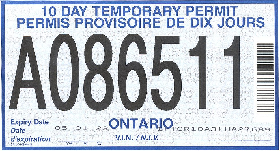 2004 Ontario license plate 10 day permit