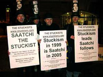 Joe Machine - Joe Machine (third from left) in a protest at the Saatchi Gallery, 2005.