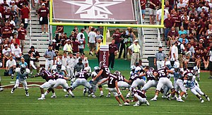 Field goal - Texas A&M attempts to kick a field goal against the Citadel in 2006.