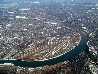 St. Paul Downtown Airport - Aerial photo of St. Paul Downtown Airport, with downtown St. Paul to the upper right, Mississippi River and MSP to the top left