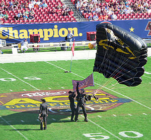 2008 ACC Championship Game - A parachutist from the Special Operations Command parachute team landing at midfield as part of the pregame ceremonies.