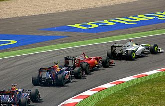 2009 Spanish Grand Prix - The first corner from leader to back: Button, Massa, Vettel, and Webber.