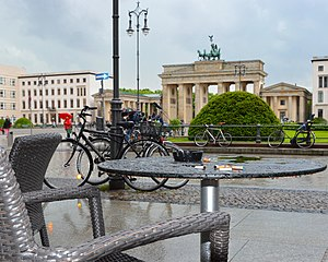 image of 2013 Berlin Brandenburg Gate. Sad raindrops falling from a smoky table. Spielvogel