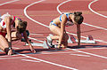 2013 IPC Athletics World Championships - 26072013 - Katarzyna Piekart of Poland and Tereza Jakschova of Czech Republic during the Women's 100m - T46 second semifinal.jpg