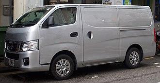 Nissan Caravan - A grey Nissan NV350 van in Singapore.
