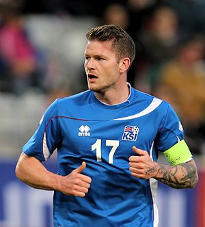 Aron Gunnarsson - Aron playing for Iceland in 2014