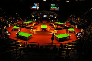 2014 German Masters - View into the main arena with seven tables during the third session of the first day
