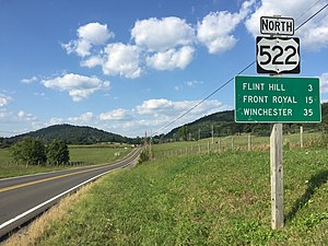 U.S. Route 522 in Virginia - View north along US 522 in Rappahannock County