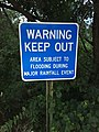 2017-09-01 19 32 34 Sign which reads 'Warning - Keep Out - Area Subject To Flooding During Major Rainfall Event' along Centerview Drive near the Cain Branch of Cub Run in Chantilly, Fairfax County, Virginia.jpg