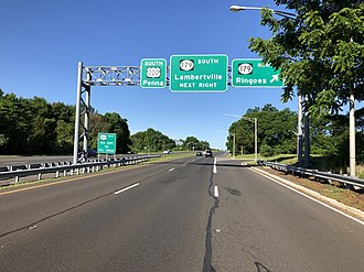 U.S. Route 202 in New Jersey - US 202 southbound at the Route 179 interchange in Ringoes
