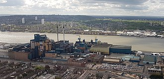 Tate & Lyle - Image: 2018 LCY, aerial view of Tate & Lyle, Silvertown (cropped)