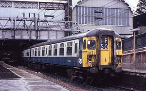 British Rail Class 309 - 309 625 leading the usual 10-car set (two 4-car sets – one with a buffet car – and one 2-car set) at London Liverpool Street on 21 March 1981