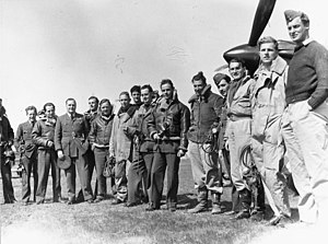 Pat Pattle - No. 33 Squadron: Pattle, (6th from right), in Greece, circa 1941. Timber Woods (9th from the right).