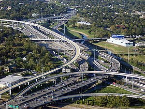 Interstate 10 in Texas - I-45 and I-10 near Downtown Houston