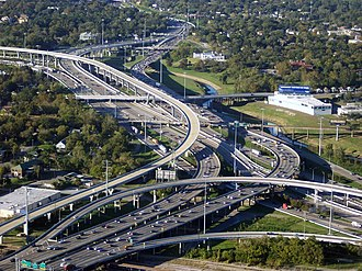 Sustainable transport - Interstate 10 and Interstate 45 near downtown Houston, Texas