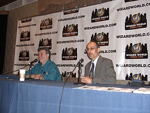 Neal Adams - Adams and Rafael Medoff promoting They Spoke Out: American Voices Against the Holocaust at the Big Apple Convention, May 21, 2011.