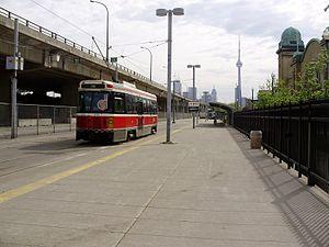 Exhibition Loop - A 509 Harbourfront streetcar departs Exhibition Loop
