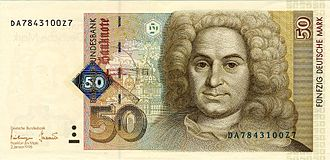 Balthasar Neumann - 50 Deutsche Mark banknote from Germany of 1998 showing Balthasar Neumann.