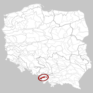 Silesian Foothills - Physico-geographical regionalization of Poland, Silesian Foothills marked in red