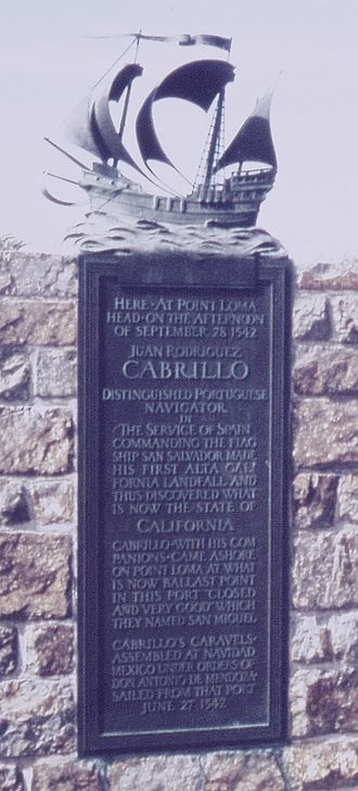Juan Rodríguez Cabrillo - Plaque placed at Cabrillo National Monument in 1935 by the Portuguese ambassador to the United States