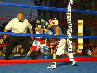 Amateur boxing - A child boxing exhibition in Union City, New Jersey.