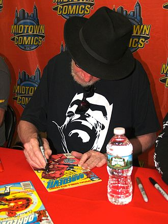 Daredevil (Marvel Comics character) - Frank Miller, seen here signing a copy of issue 181 at Midtown Comics, revamped the character's radar sense to make it more believable.