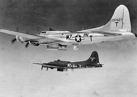 B-17s similar to the Dresden raiders, with their H2X radar extended from the belly where a turret would normally have been. Only some were so equipped, while others relied on signals from those with radar 96bg-b17.jpg