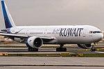 9K-AOD Kuwait Airways Boeing 777-369(ER) lining up on Runway18 for further departure to Kuwait (KWI OKBK) @ Frankfurt Rhein-Main International (FRA EDDF) 19.11.2017 (38523677221).jpg