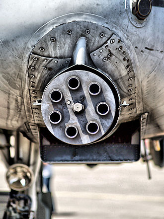 GAU-8 Avenger - GAU-8 closeup, showing the off-center mounting of the weapon and landing gear