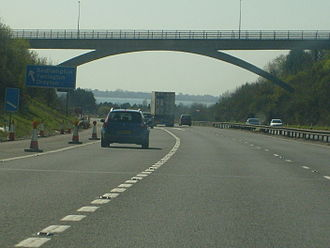 A3 road - The A3(M) at the Portsdown Hill Road Bridge nearing Junction 5 with the A27