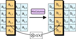 Nel passaggio MixColumns ogni colonna di byte viene moltiplicata per un polinomio fisso c(x).