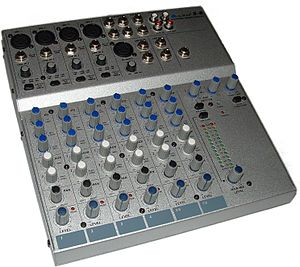 Aux-send - This Alto S-8 mixer has two knobs for controlling the aux-send mix (the third and fourth knobs from the bottom).