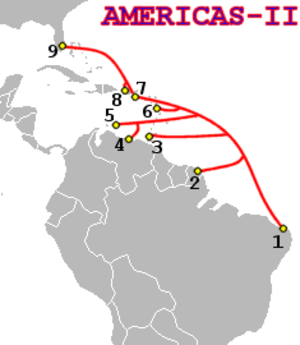 Internet in Cuba - AMERICAS-II, a submarine telecommunications cable of 2000, passing Cuba