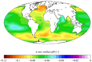 Change in sea surface pH caused by anthropogenic CO2 between the 1700s and the 1990s