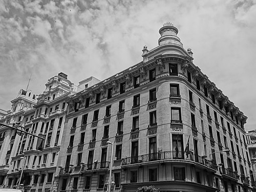A Black and white photograph of buildings at Gran Via, Madrid Spain 017.JPG